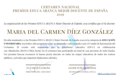 Nominada a los premios Educa Abanca